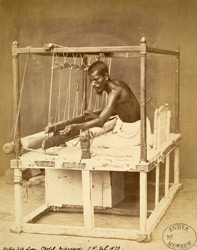 Man operating a silk loom, Ghotal, Midnapur